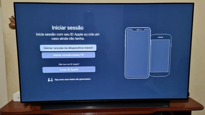 Tela de login do Apple TV (Imagem: Ronaldo Gogoni/Tecnoblog)