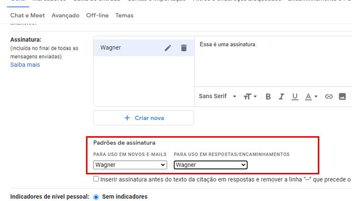 Como colocar assinatura no Gmail (Imagem: Reprodução/Gmail)
