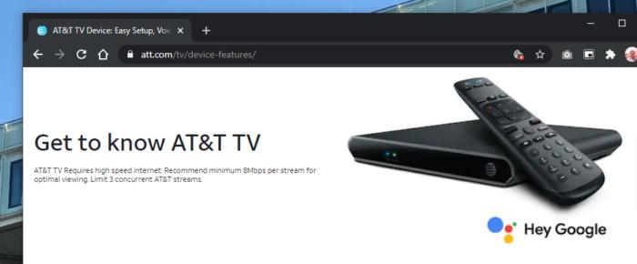 TV Box com Android da AT&T, dona da Sky (Imagem: Reprodução/AT&T)
