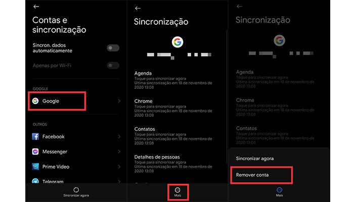 Processo para remover a conta do Google (Imagem: Reprodução/MIUI 12)