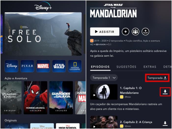 Baixar temporada ou episódio no Disney+ (Imagem: Reprodução/Disney+)