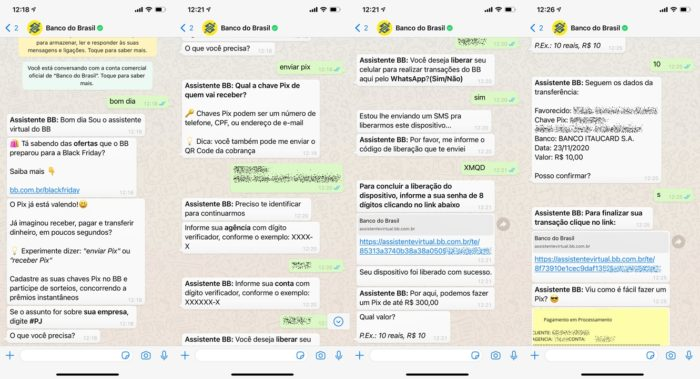 Banco do Brasil integra Pix ao WhatsApp (capturas: Felipe Ventura/Tecnoblog)