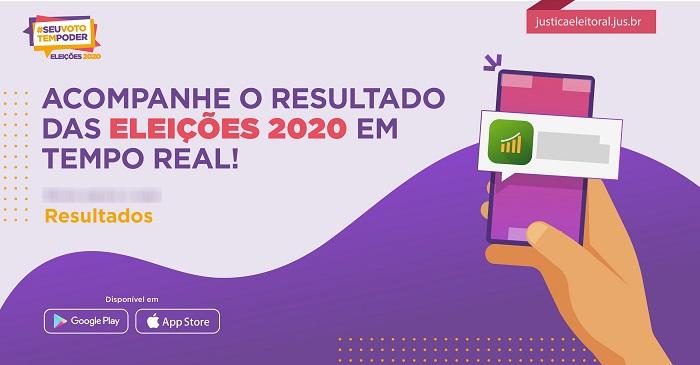 Aplicativo para acompanhar apuração das eleições 2020 (Imagem: TSE Twitter/Divulgação)