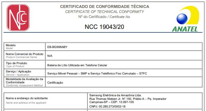 Certificação da bateria do Galaxy S21 Ultra (Imagem: Reprodução/Anatel)
