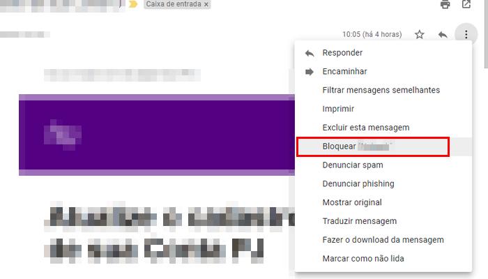 Processo para bloquear um e-mail no Gmail (Imagem: Reprodução/Gmail)