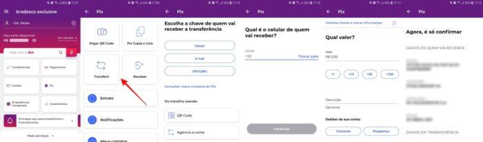 Transferir Pix pelo Bradesco (Imagem: Reprodução/Bradesco)