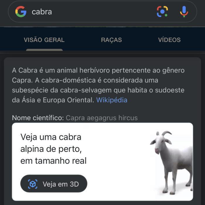 Cabra com realidade aumentada 3D do Google (Imagem: reprodução/Google)