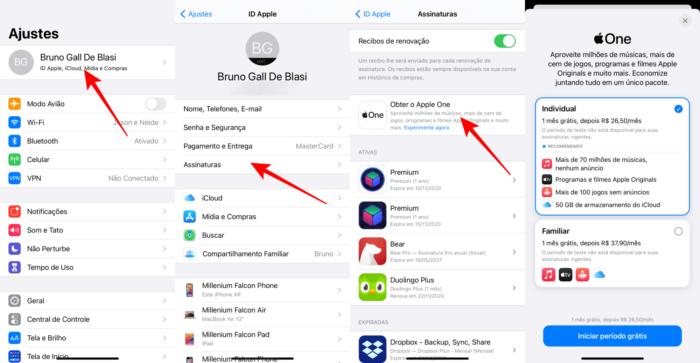 Caminho para assinar o Apple One (Imagem: Reprodução/iOS)