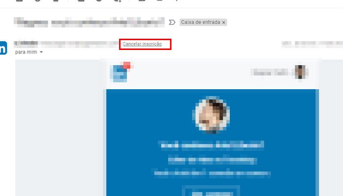Processo para cancelar inscrição de e-mails no Gmail (Imagem: Reprodução/Gmail)