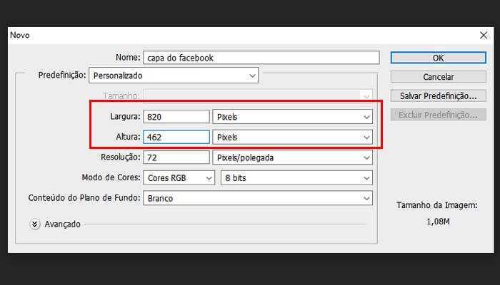 Processo para criar uma foto de capa do Facebook no Photoshop (Imagem: Reprodução/Photoshop)