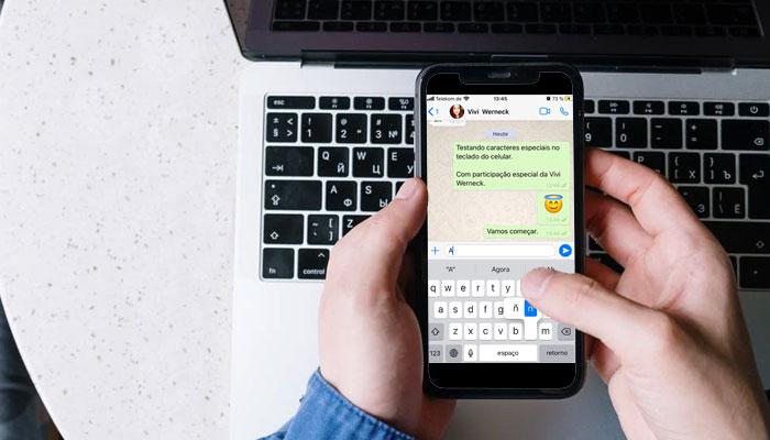 Caracteres especiais no teclado do celular