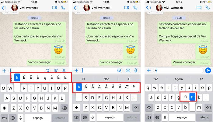 Revelando caracteres especiais teclado celular