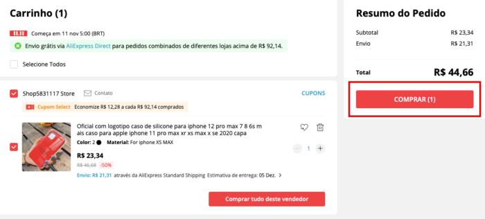 Como comprar no AliExpress(Imagem: Reprodução/AliExpress)