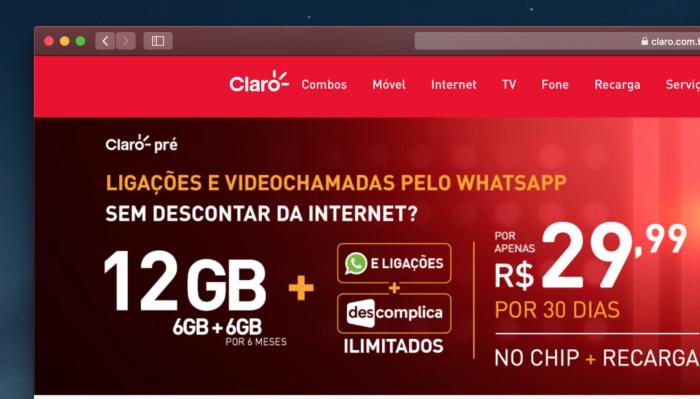 Promoção de 12 GB no pré-pago (Imagem: Reprodução/Site Claro)