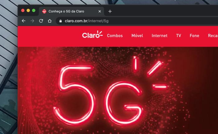 Portal da Claro sobre 5G (Imagem: Reprodução/Site Claro)