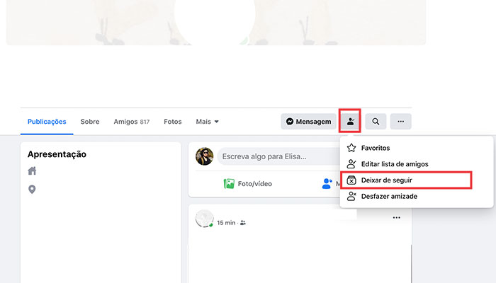 Como deixar de seguir Perfil no Facebook