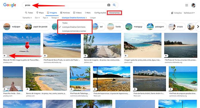 Refinando a busca de imagens gratuitas no Google