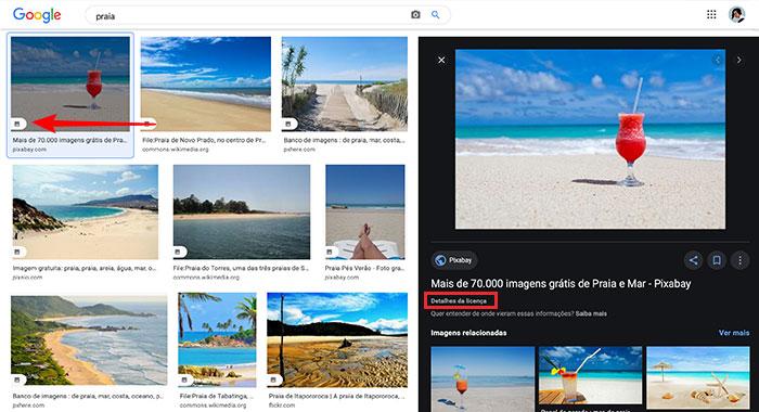 Detalhes da busca Google Images