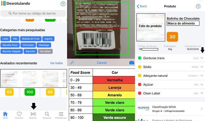 Alimento recebe nota e é classificado por cores (Imagem: Reprodução/Gabrielle Lancellotti)