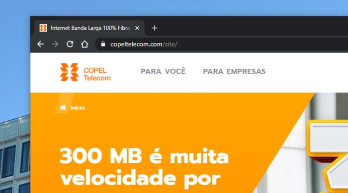 Site da Copel Telecom (Imagem: Reprodução)