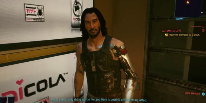 Keanu Reeves aparece na prévia de Cyberpunk do Xboc (Imagem: CD Projekt Red/Divulgação)