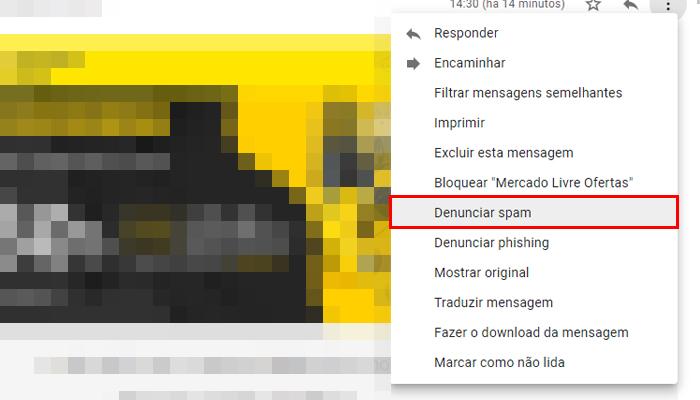 Denunciando um spam você o remove da sua caixa de entrada (Imagem: Reprodução/Gmail)