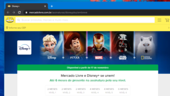 Disney+ terá até seis meses grátis para usuários do Mercado Livre