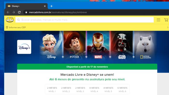 Mercado Livre e Pago darão meses grátis no Disney+ (Imagem: Reprodução/ML)