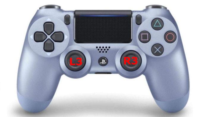 Posição dos botões R3 e L3 no controle DualShock 4 (Imagem: Reprodução/Sony)