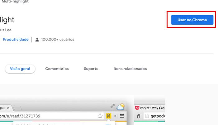 Baixando extensão no Google Chrome (Imagem: Reprodução/Chrome Web Store)