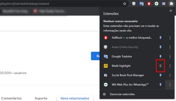 Processo para fixar a extensão (Imagem: Reprodução/Chrome Web Store)