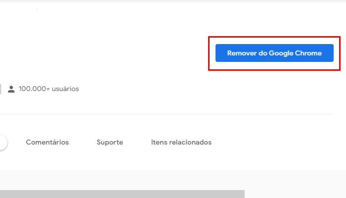 Processo para remover uma extensão do Chrome (Imagem: Reprodução/Chrome Web Store)