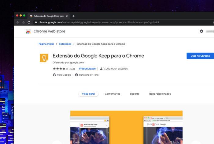 Extensão do Google Keep para Chrome (Imagem: reprodução/Chrome)
