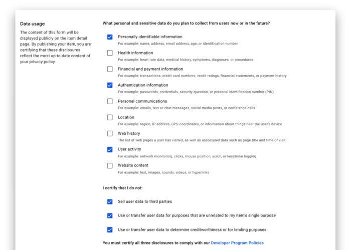 Desenvolvedores devem indicar quais dados as extensões têm acesso (Imagem: Divulgação/Google)