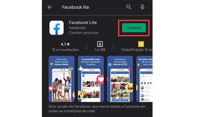 Como baixar o Facebook Lite (Imagem: Reprodução/Play Store)
