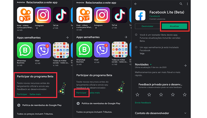Processo para fazer parte do programa beta do Facebook Lite (Imagem: Reprodução/Play Store)