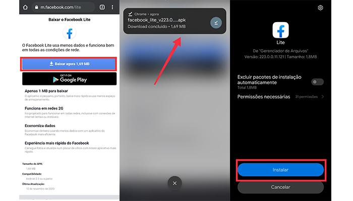 Processo para baixar o APK do Facebook Lite (Imagem: Reprodução/Facebook Lite)