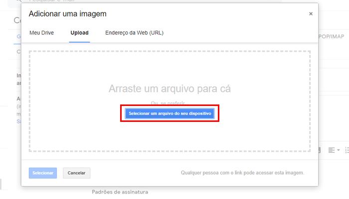 Gmail também permite adicionar uma foto na assinatura (Imagem: Reprodução/Gmail)