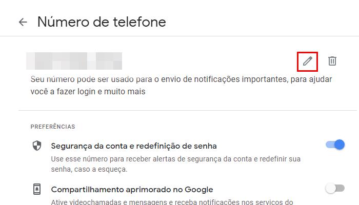 Processo para mudar o número de telefone do Gmail no PC (Imagem: Reprodução/Gmail)