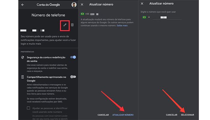 Processo para alterar o número de telefone do Gmail no Android (Imagem: Reprodução/Gmail)