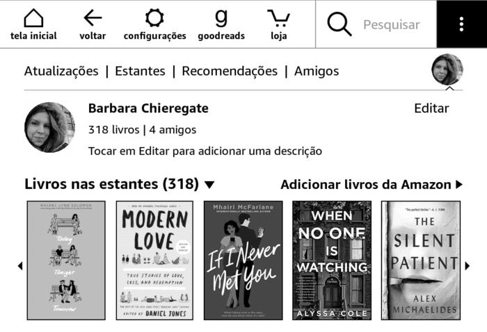 Perfil do Goodreads no Kindle (Imagem: Reprodução/Kindle)