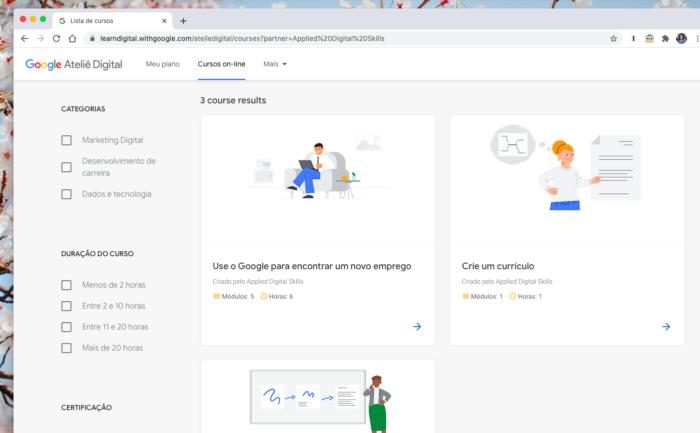Google lança cursos grátis para quem está procurando emprego (Imagem: Reprodução/Tecnoblog)