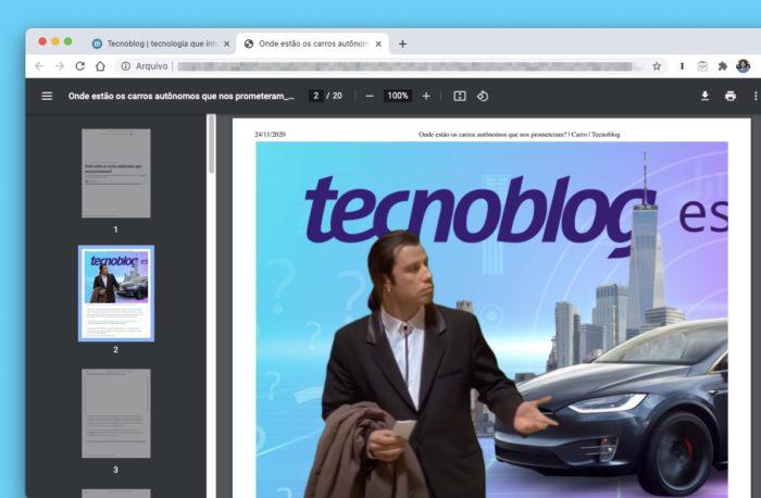 Novo leitor de PDF do Google Chrome 87 (Imagem: Reprodução/Tecnoblog)