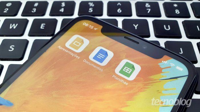 Google Docs em um iPhone (Imagem: Tecnoblog)