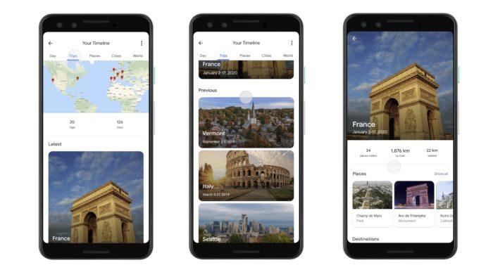 Maps reúne as viagens que você feitas (Imagem: Reprodução/Google)