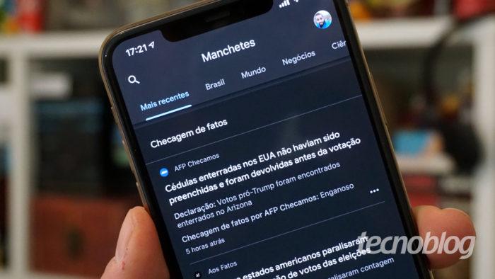 Google Notícias ganha área destacada contra fake news (Imagem: André Fogaça/Tecnoblog)