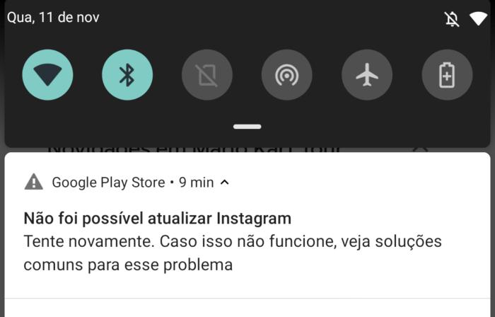 Erro ao atualizar apps (Imagem: Reprodução/Google Play)
