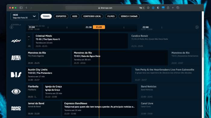 Guia de programação do DirecTV Go (Imagem: Reprodução/DirecTV Go)