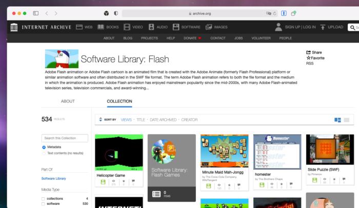 Acerco do Internet Archive com jogos para Adobe Flash Player (Imagem: Reprodução/Tecnoblog)