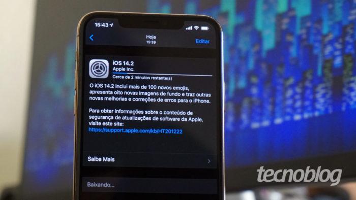 iOS 14.2 no iPhone (Imagem: André Fogaça/Tecnoblog)